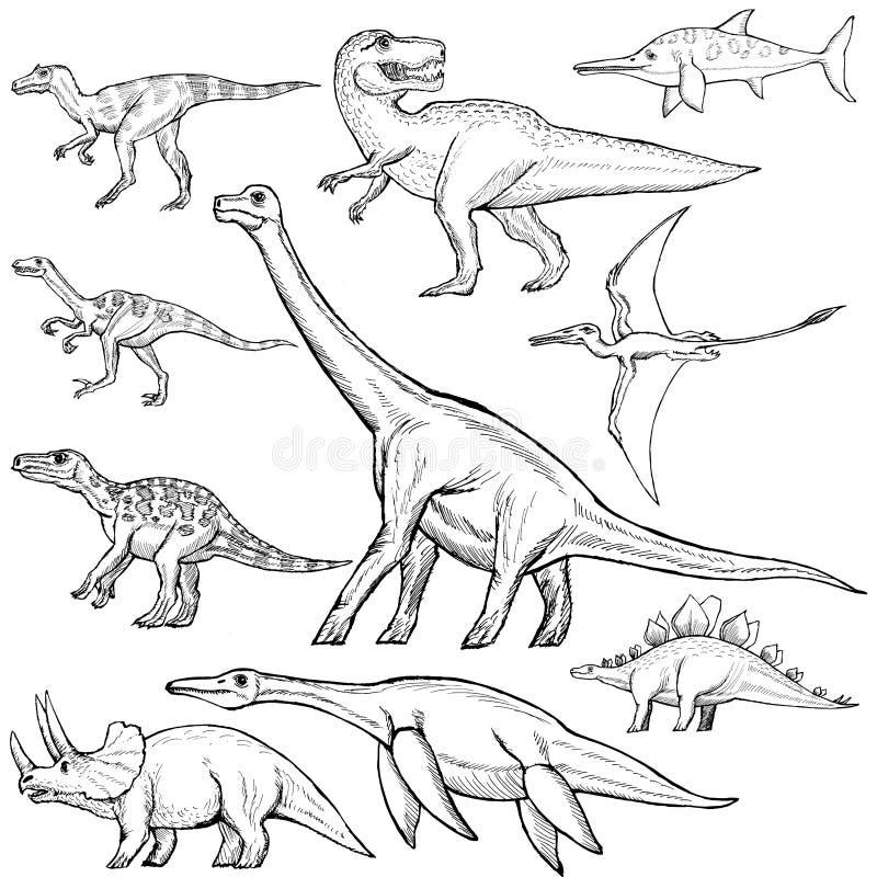 Ensemble de différents dinosaures illustration libre de droits