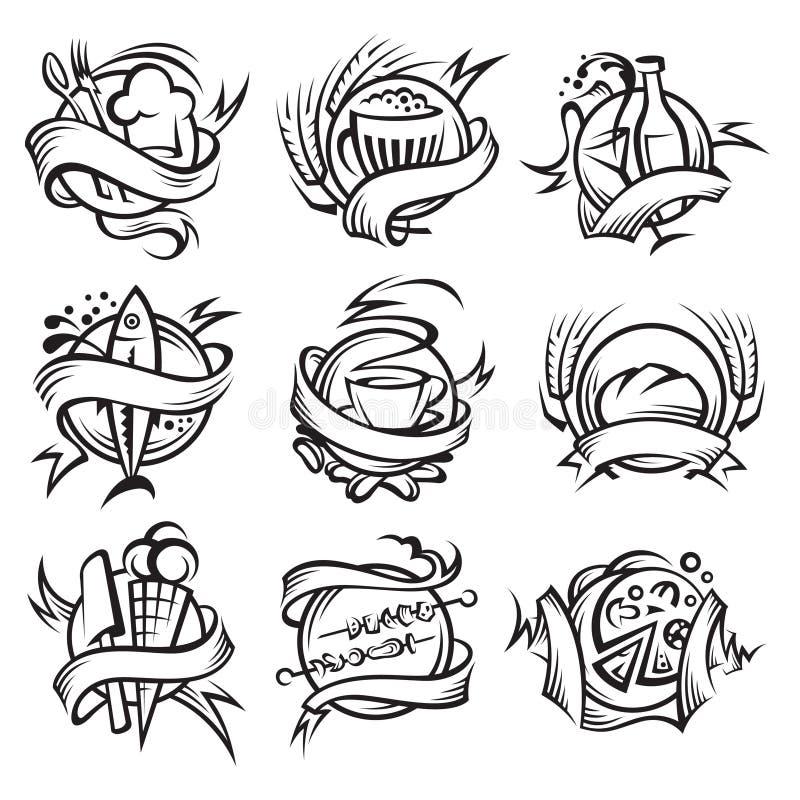 Ensemble de différents drapeaux de nourriture illustration de vecteur