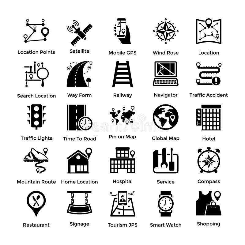 Ensemble de différents emplacements, de cartes et d'icônes de Glyph de navigations illustration libre de droits