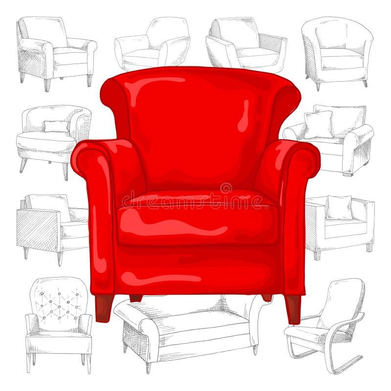 Ensemble de différents fauteuils mous Illustration de vecteur de croquis illustration de vecteur