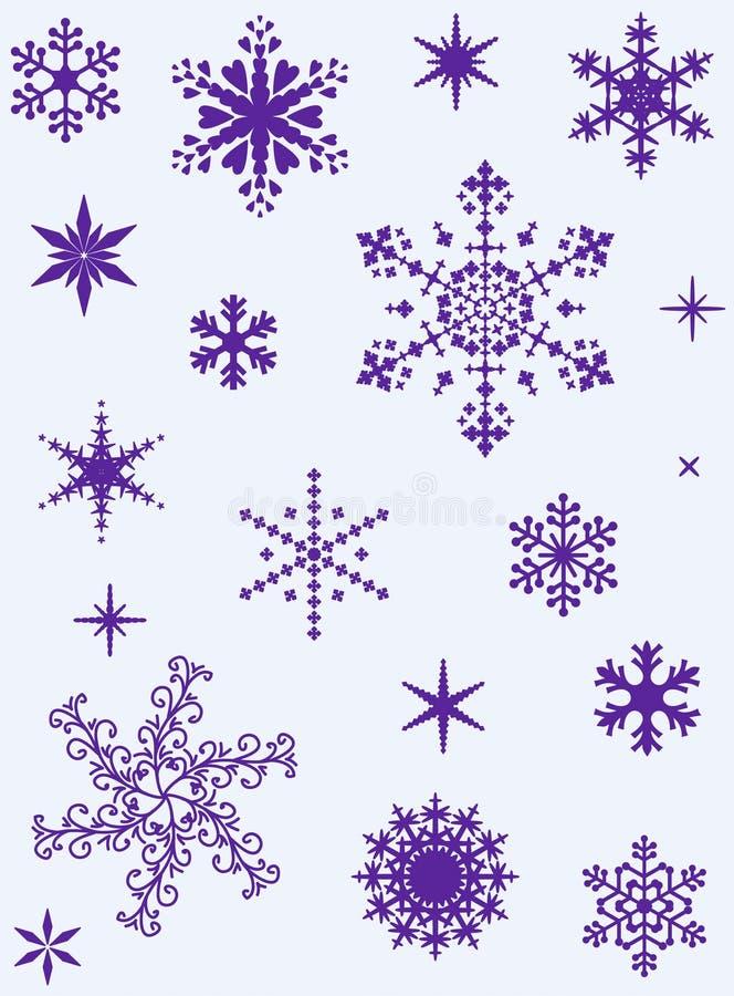 Ensemble de différents flocons de neige illustration de vecteur
