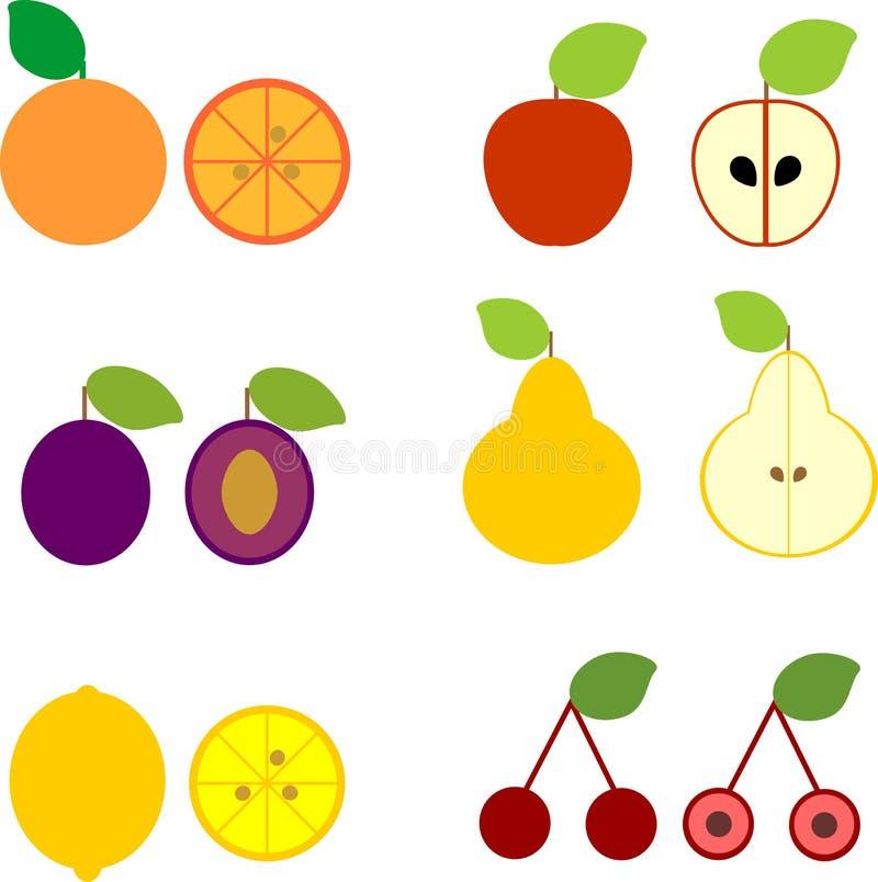 Ensemble de différents fruits mûrs dans le style simple de bande dessinée d'isolement sur le fond blanc illustration de vecteur