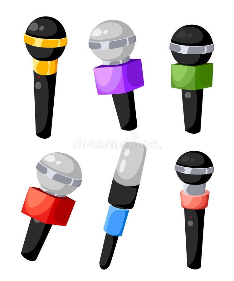 Ensemble de différents microphones de couleurs pour la TV ou radio des microphones d'air pour la presse de l'illustration différe illustration libre de droits