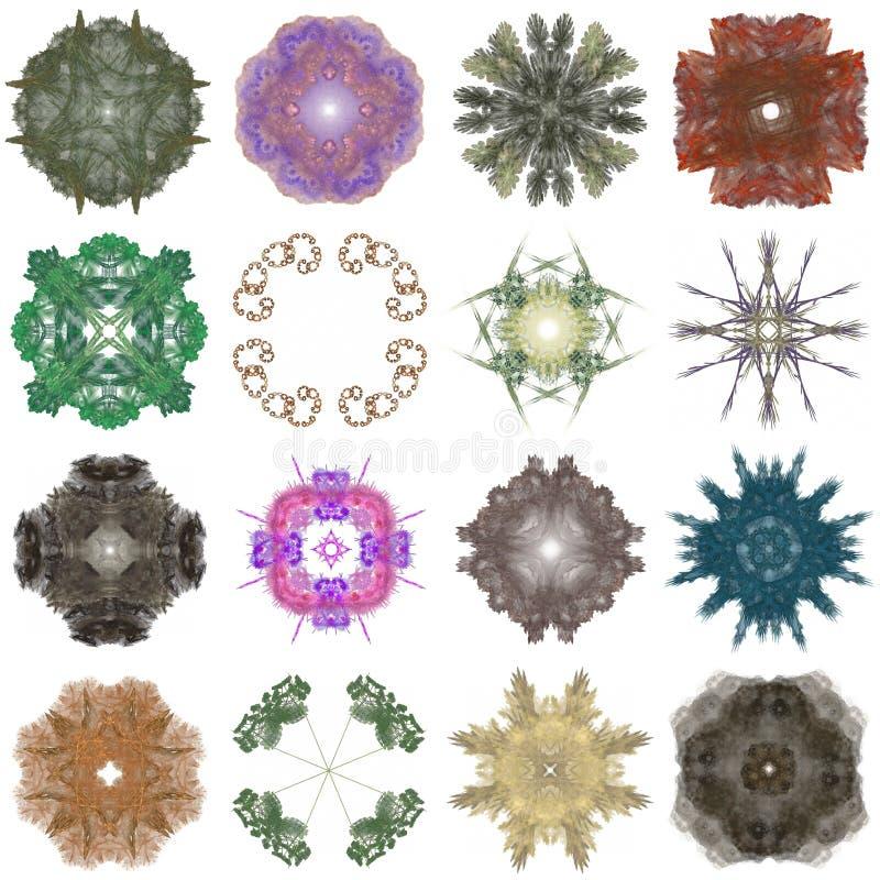 Ensemble de différents modèles colorés sur une fractale abstraite illustration libre de droits