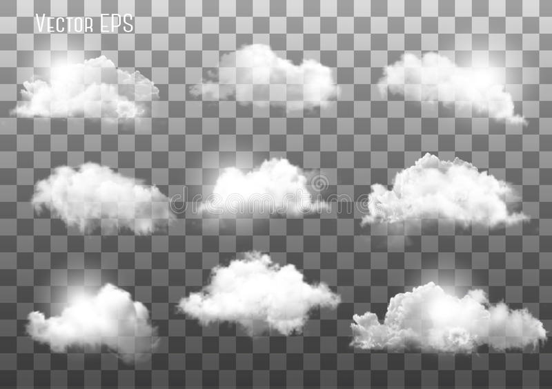 Ensemble de différents nuages transparents illustration de vecteur