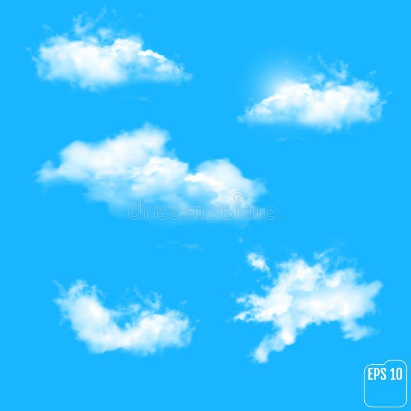 Ensemble de différents nuages transparents Illustration de vecteur illustration de vecteur