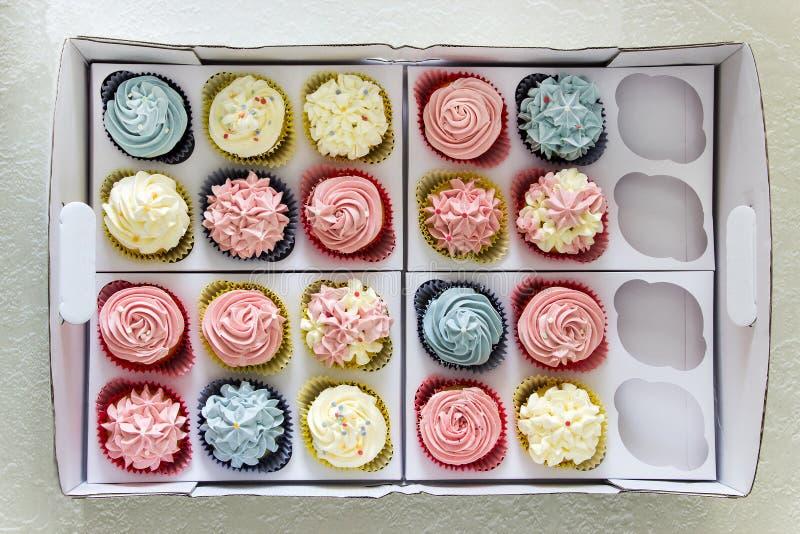 Ensemble de différents petits gâteaux faits maison délicieux dans la livraison de papier b images stock