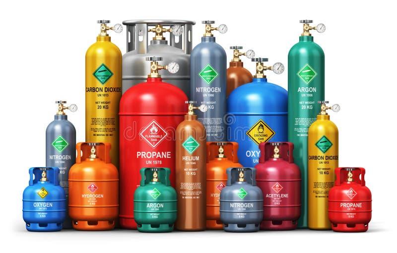 Ensemble de différents récipients industriels de gaz liquéfié illustration stock