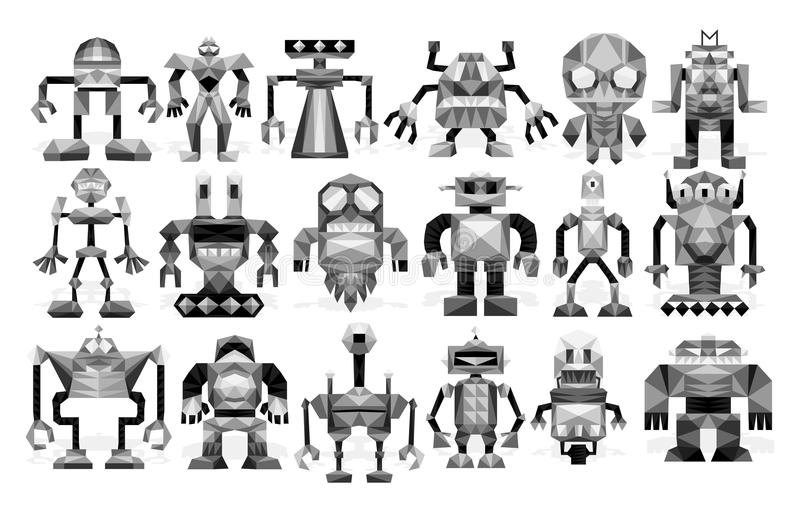 Ensemble de différents robots d'isolement sur le fond illustration de vecteur