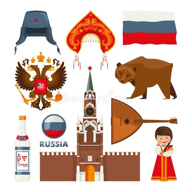 Ensemble de différents symboles nationaux traditionnels de la Russie Moscou illustration libre de droits