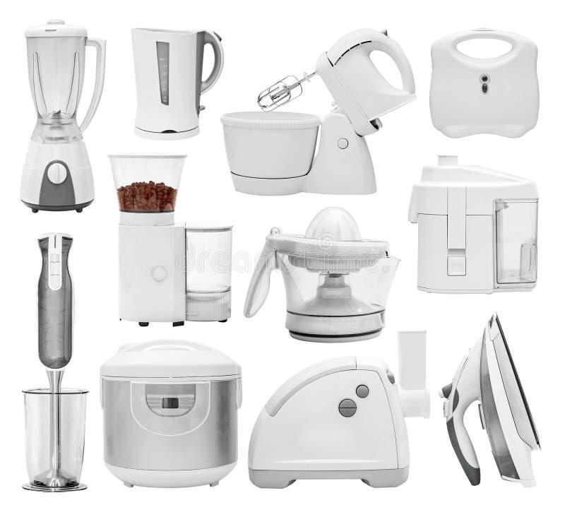 Ensemble de différents types d'appareils de cuisine images stock