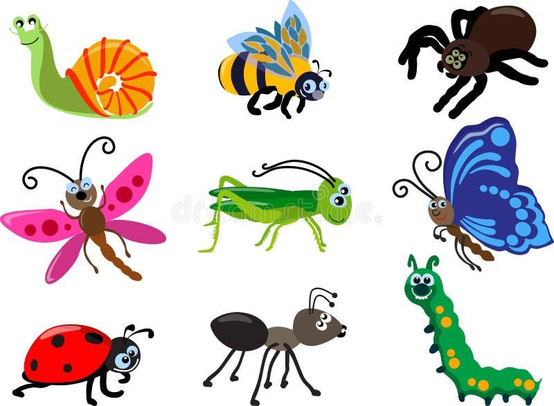 Ensemble de différents types d'insectes d'isolement sur le fond blanc dans le style plat Illustration de vecteur illustration stock