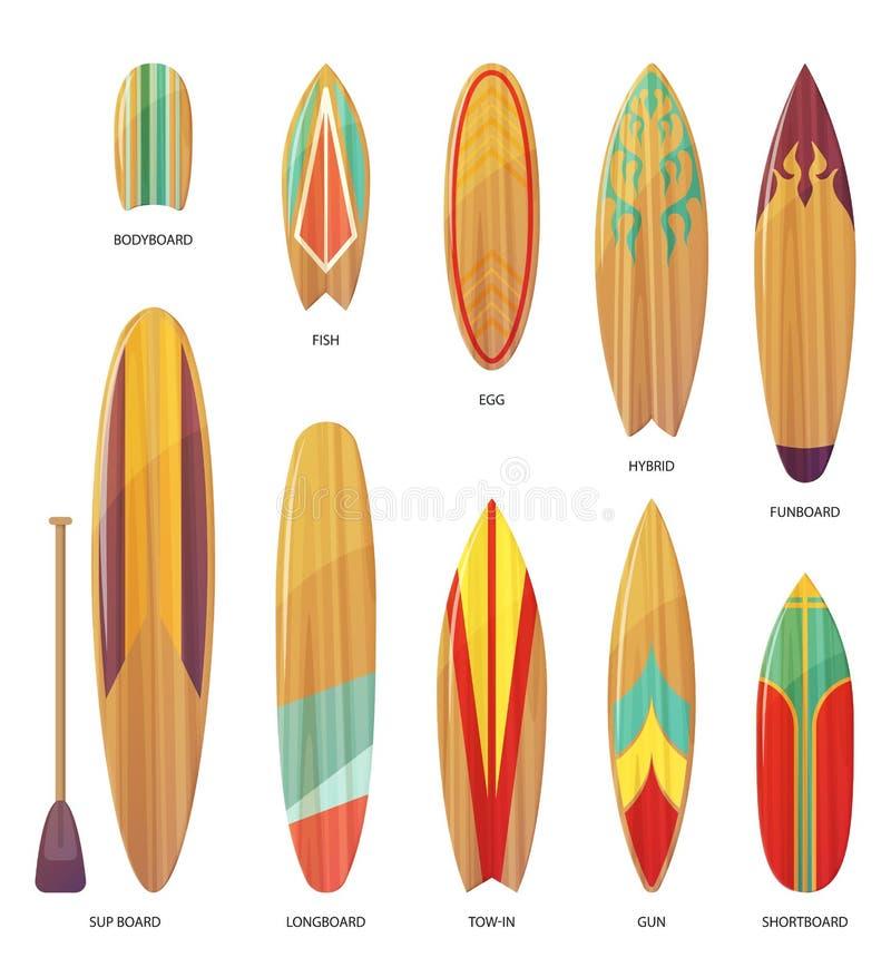 Ensemble de différents types d'isolement de planches de surf illustration libre de droits