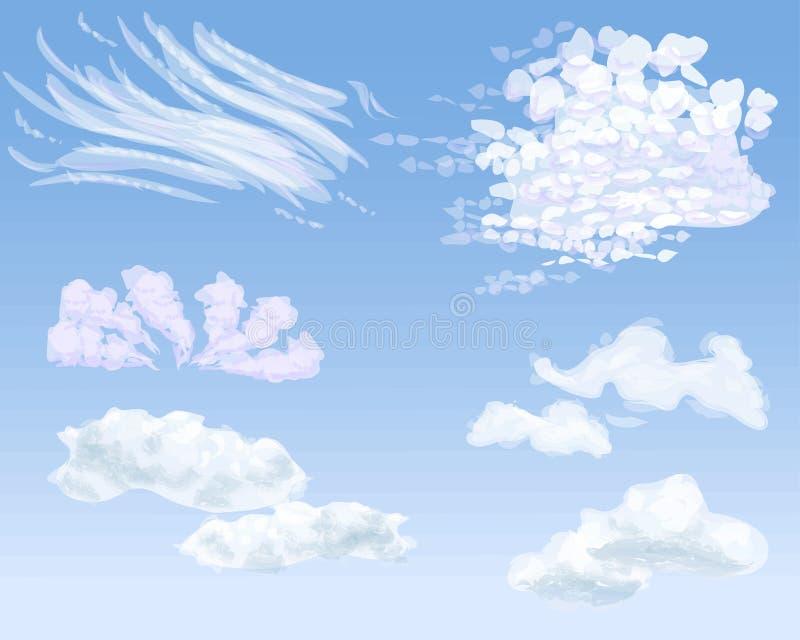 Ensemble de différents types de nuages sur le ciel de jour, illustration photo stock