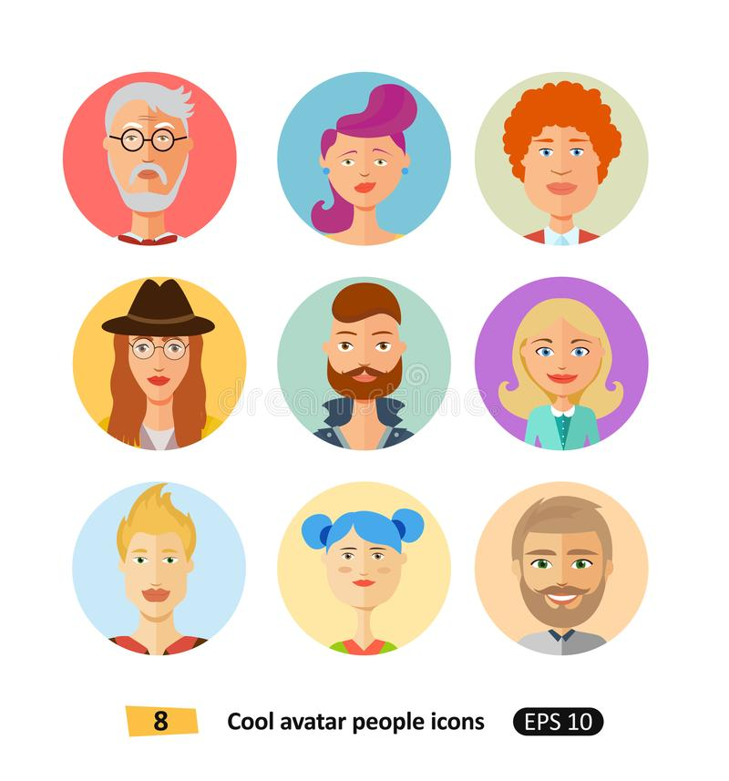 Ensemble de différents vêtements d'icônes plates fraîches d'avatars, tons et coiffures modernes et style plat simple de bande des illustration de vecteur