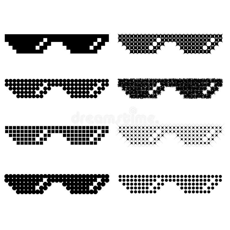 Ensemble de différents verres de pixel illustration libre de droits