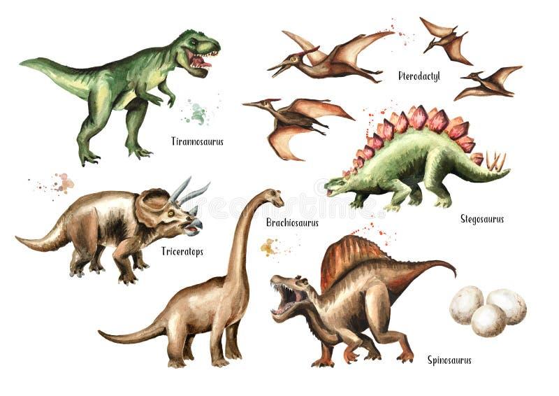 Ensemble de dinosaure Illustration tirée par la main d'aquarelle, d'isolement sur le fond blanc illustration de vecteur