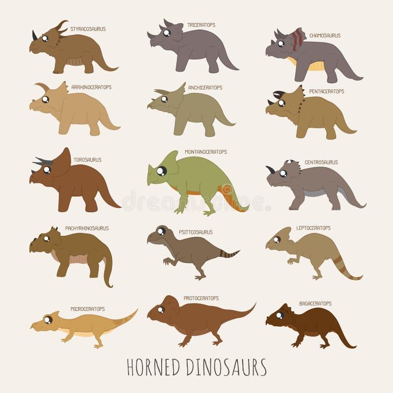 Ensemble de dinosaures à cornes illustration de vecteur