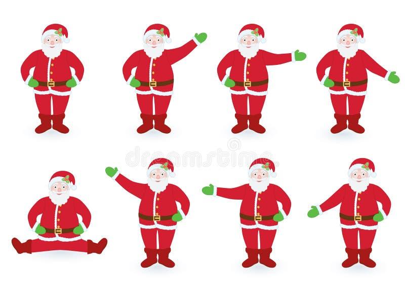 Ensemble de diriger Santa Clauses illustration libre de droits