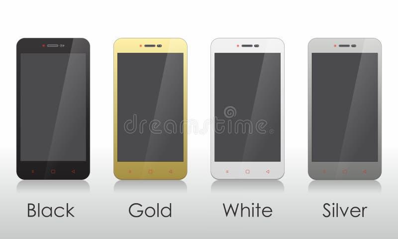 Ensemble de dispositif d'écran vide Moniteur/affichage à cristaux liquides, Smartphone, Tablette, montre illustration de vecteur