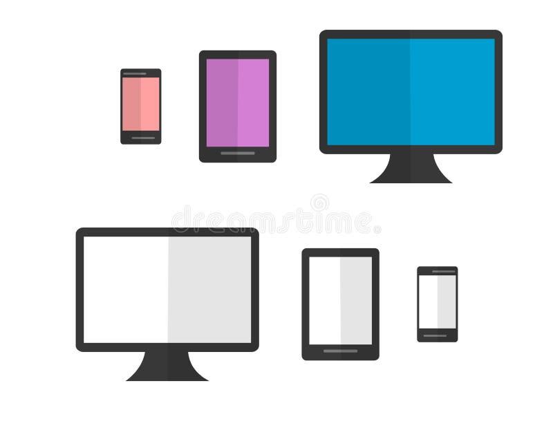 Ensemble de dispositifs colorés et noirs et blancs d'Isoleted Conception plate illustration stock