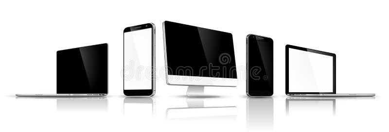Ensemble de dispositifs modernes illustration stock