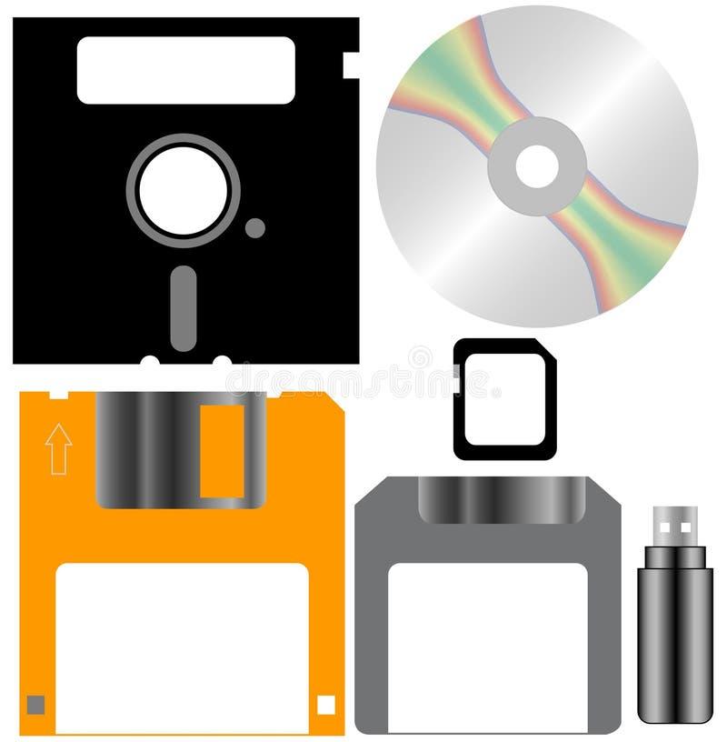 Ensemble de disques d'ordinateur illustration stock