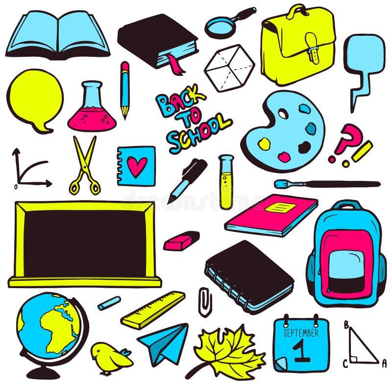 Ensemble de divers éléments d'école, collection tirée par la main colorée illustration libre de droits