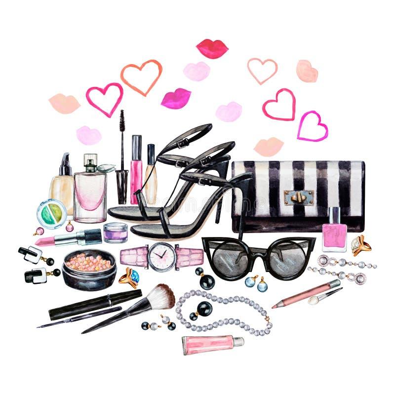Ensemble de divers accessoires de femelle d'aquarelle Produits de maquillage illustration stock