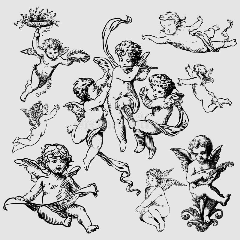Ensemble de divers anges ou de cupidons illustration stock
