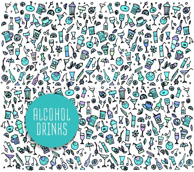Ensemble de divers cocktails et boissons non alcoolisées de griffonnages illustration libre de droits