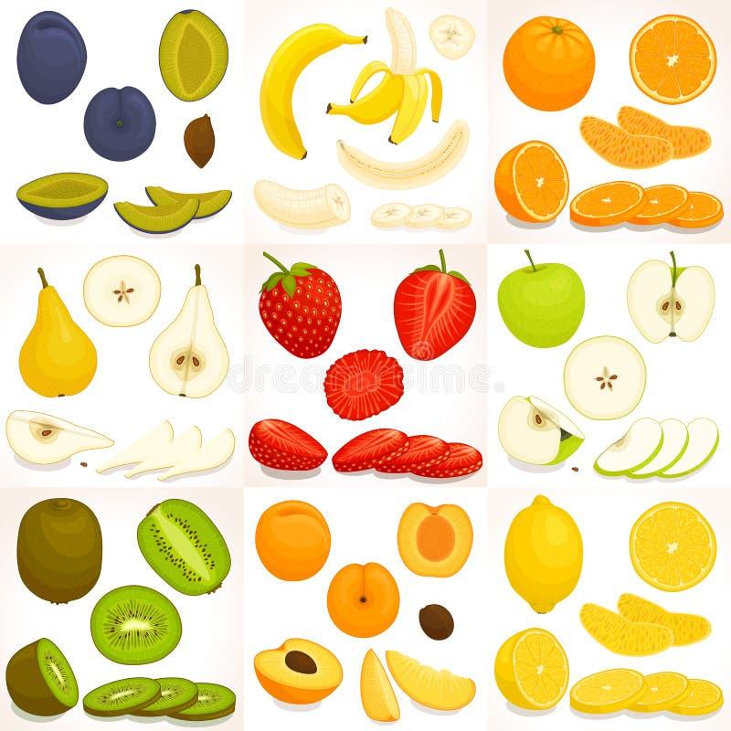 Ensemble de divers fruit entier et coupé en tranches Illustration de vecteur illustration libre de droits