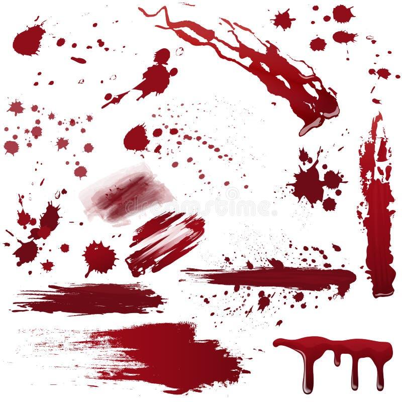 Ensemble de diverses éclaboussures de sang ou de peinture Illustration réaliste de vecteur illustration libre de droits