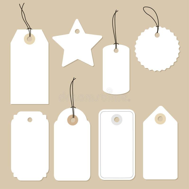 Ensemble de diverses étiquettes de papier blanc, labels, autocollants Éléments d'isolement, conception plate illustration de vecteur