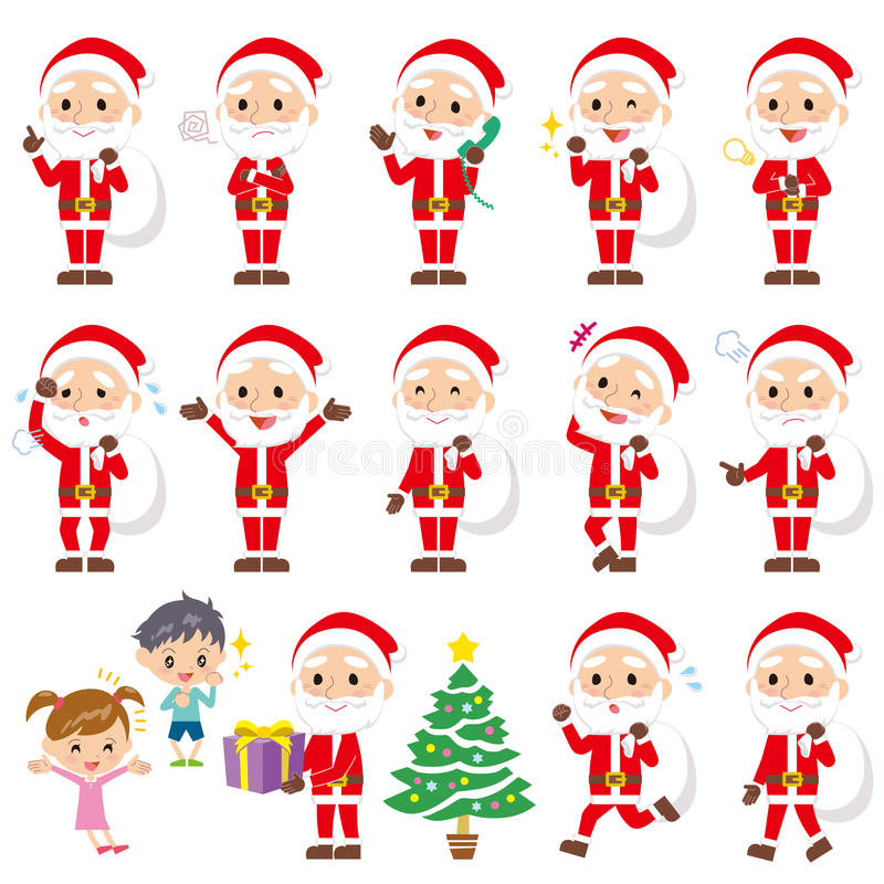 Ensemble de diverses poses du père noël illustration stock