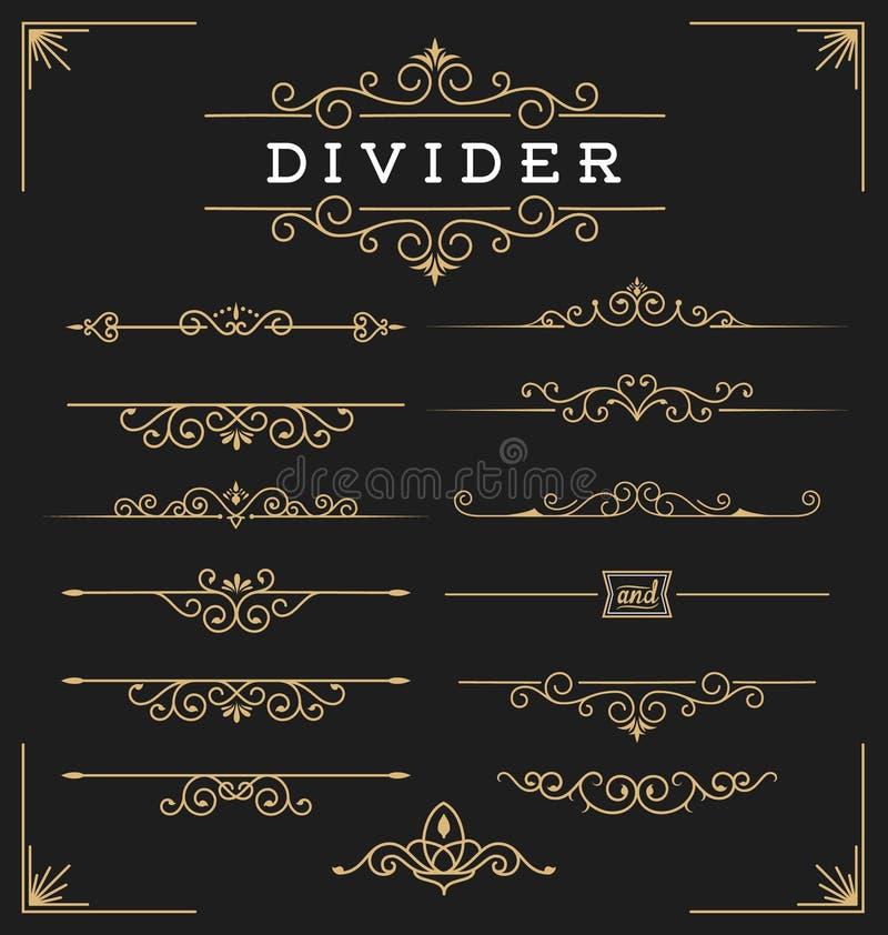 Ensemble de diviseur horizontal de flourishes décoratif illustration de vecteur