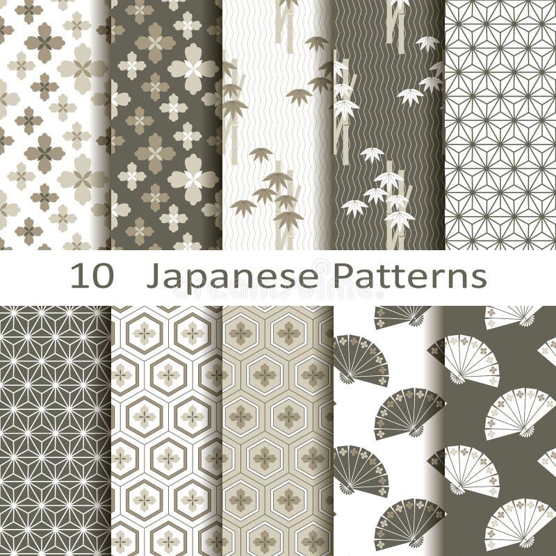 Ensemble de dix modèles japonais illustration stock