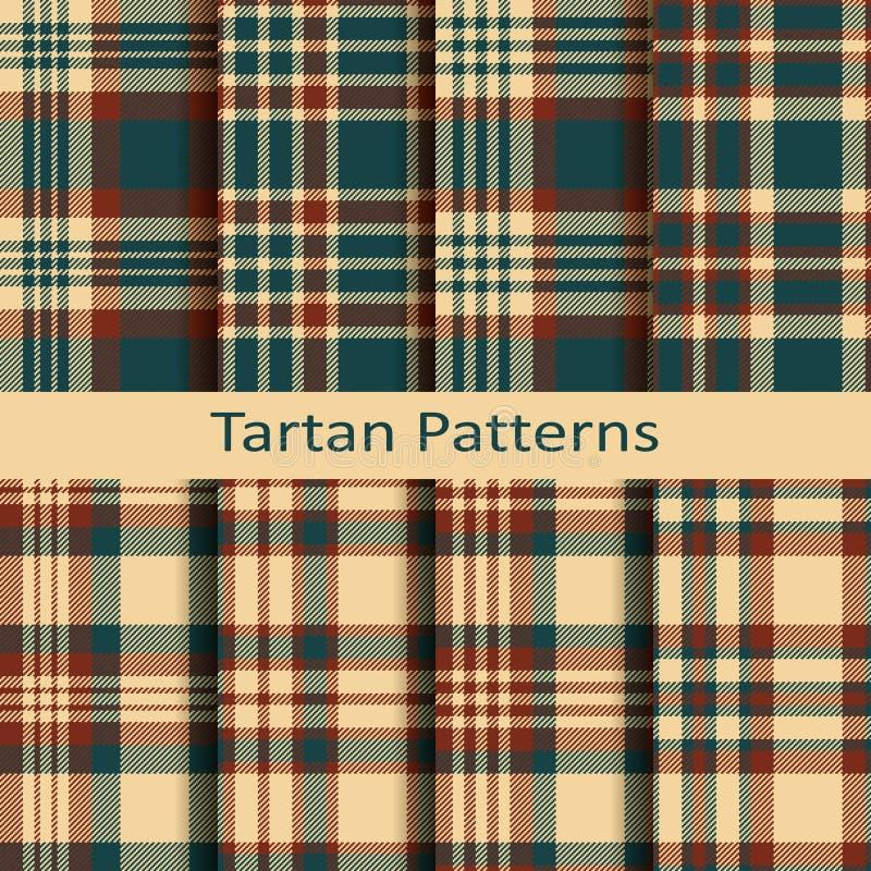 Ensemble de dix modèles sans couture de tartan de vecteur conception pour empaqueter, tissus, couvertures illustration stock