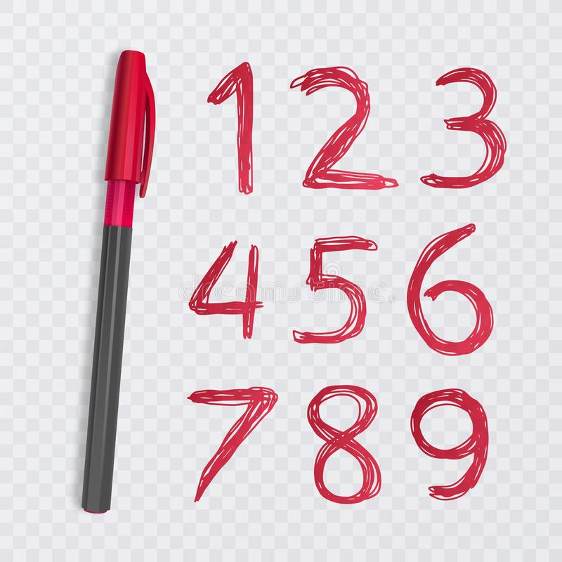 Ensemble de dix nombres de un à neuf, nombres dessinés avec un stylo rouge, illustration vectorielle illustration de vecteur