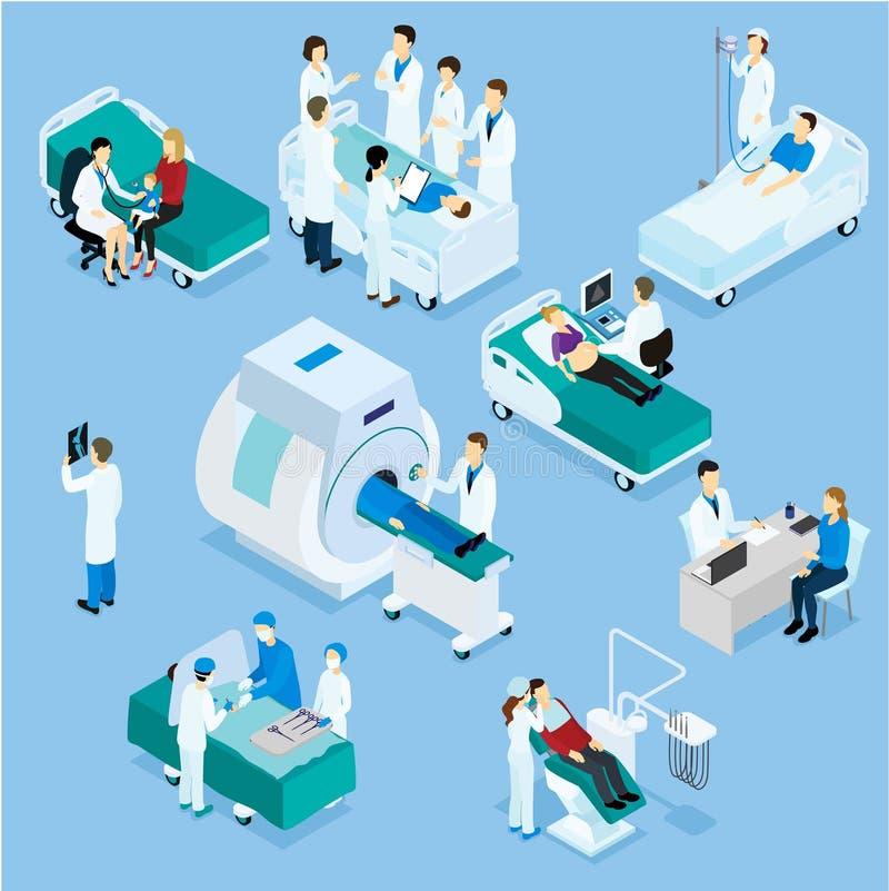 Ensemble de docteur And Patient Isometric illustration de vecteur