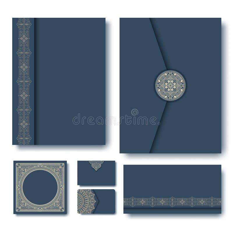 Ensemble de dossiers de vecteur avec les cadres géométriques de monogramme de vintage et d'éléments sur le fond bleu-foncé illustration de vecteur