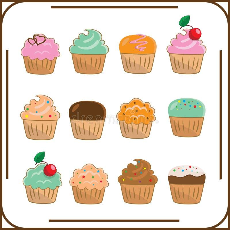 Ensemble de douze gâteaux différents photo stock
