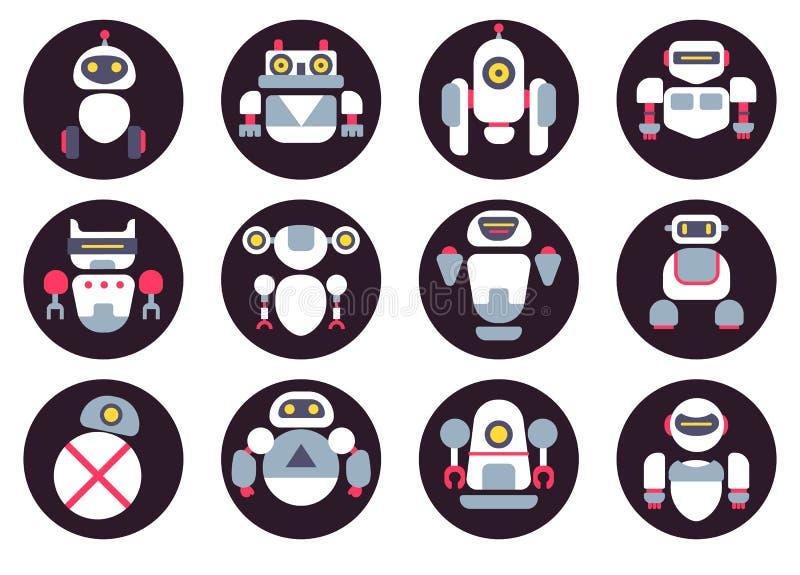 Ensemble de douze icônes plates mignonnes de robots images stock