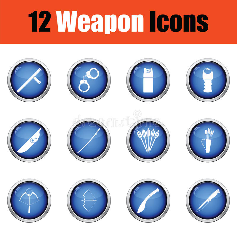 Download Ensemble De Douze Icônes D'arme Illustration de Vecteur - Illustration du machette, attaque: 77158172