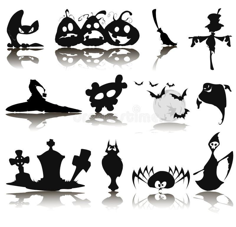 Ensemble de douze icônes pour Halloween illustration stock