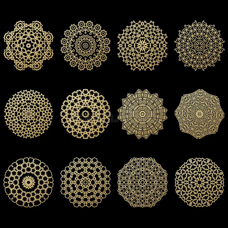 Ensemble de douze mandalas d'or Élément géométrique de l'arabe de cercle illustration stock