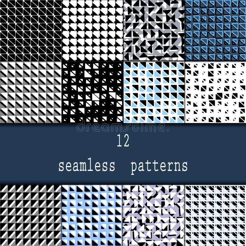 Ensemble de douze modèles sans couture Milieux géométriques modernes élégants sans couture avec la répétition des triangles avec  illustration de vecteur