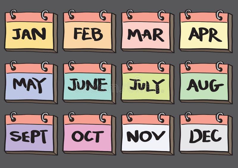 ensemble de douze mois d'icône de vecteur de bande dessinée de calendrier photos stock