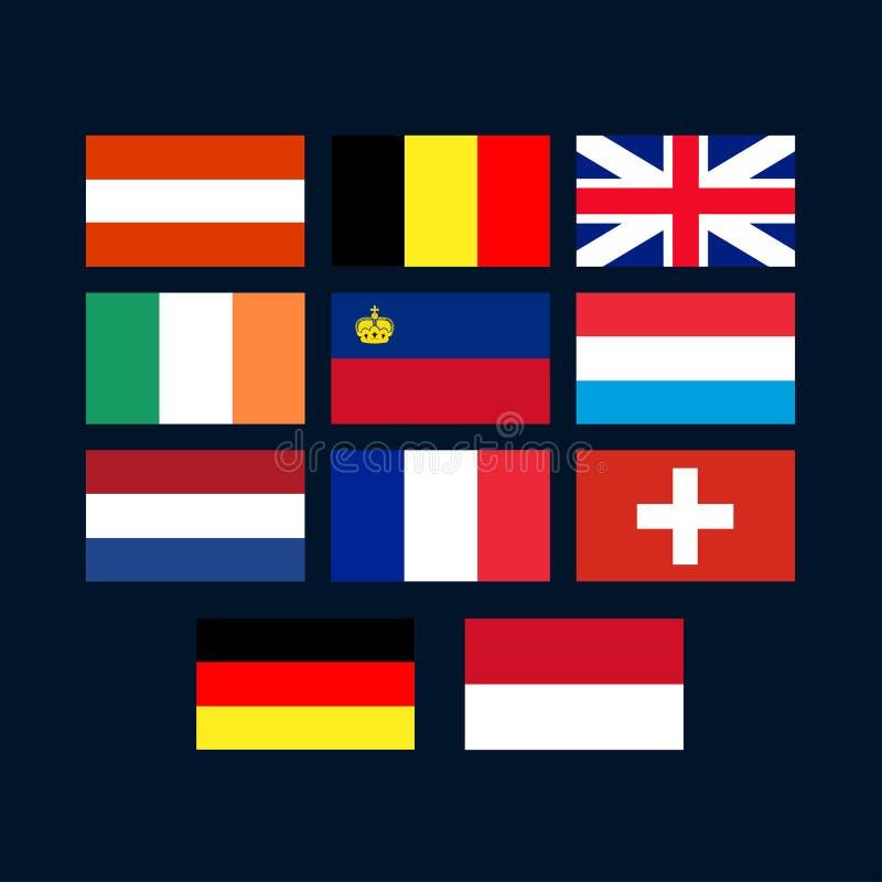 Ensemble de drapeau d'Europe occidentale illustration libre de droits