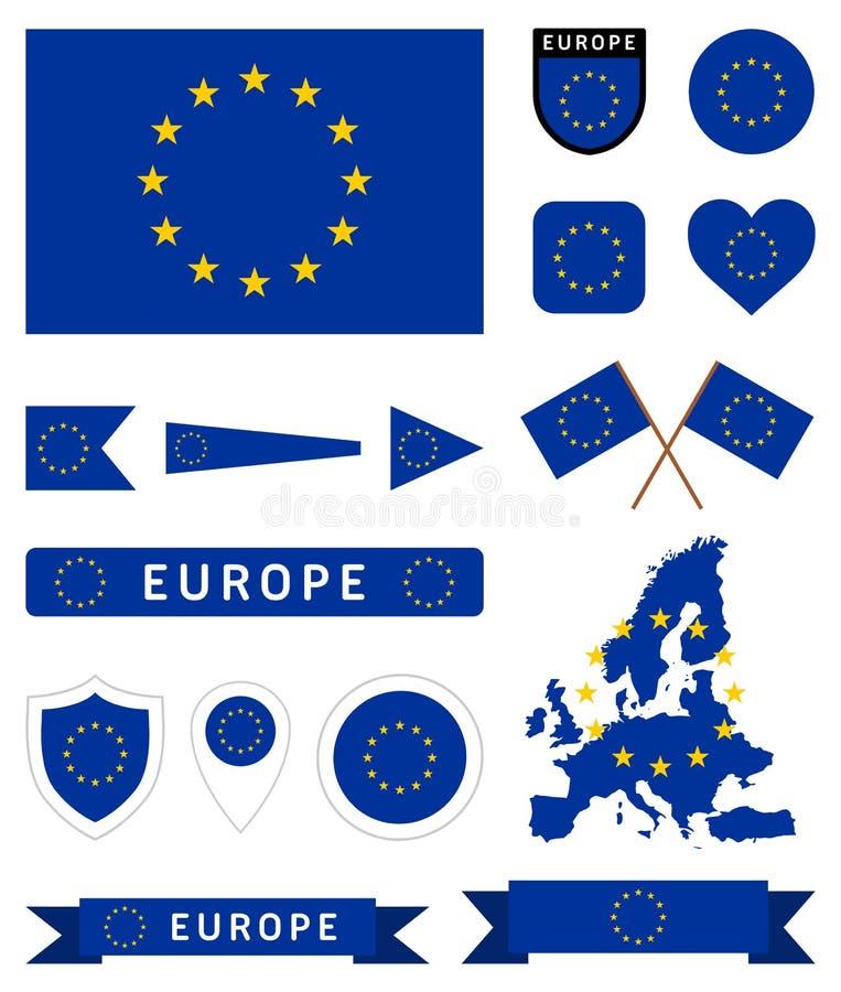 Ensemble de drapeau d'Union européenne illustration libre de droits